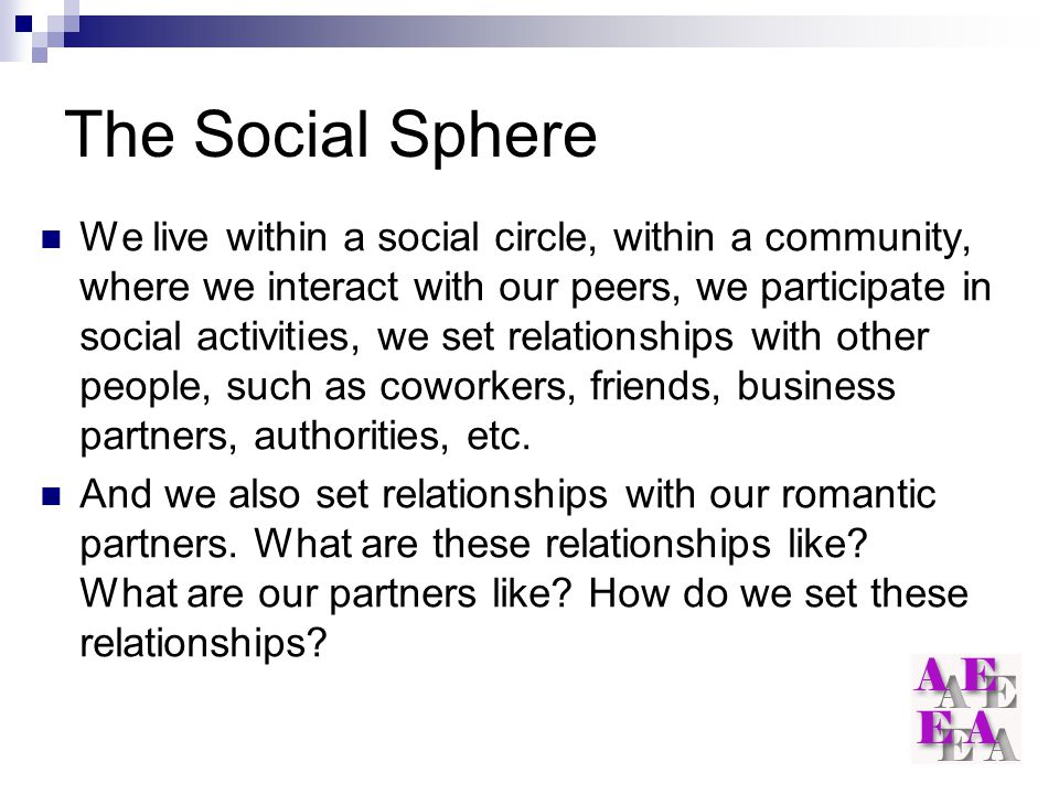 The Social Sphere We live within a social circle, within a community, where we interact with our peers, we participate in social activities, we set relationships with other people, such as coworkers, friends, business partners, authorities, etc.