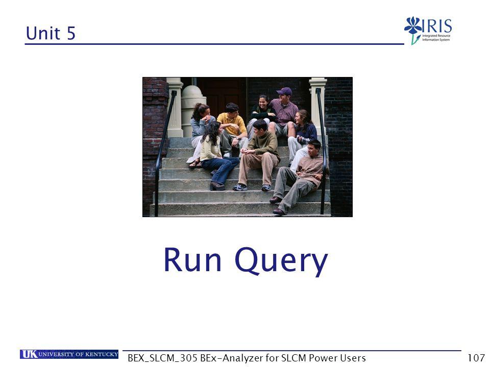 BEX_SLCM_305 BEx-Analyzer for SLCM Power Users107 Unit 5 Run Query