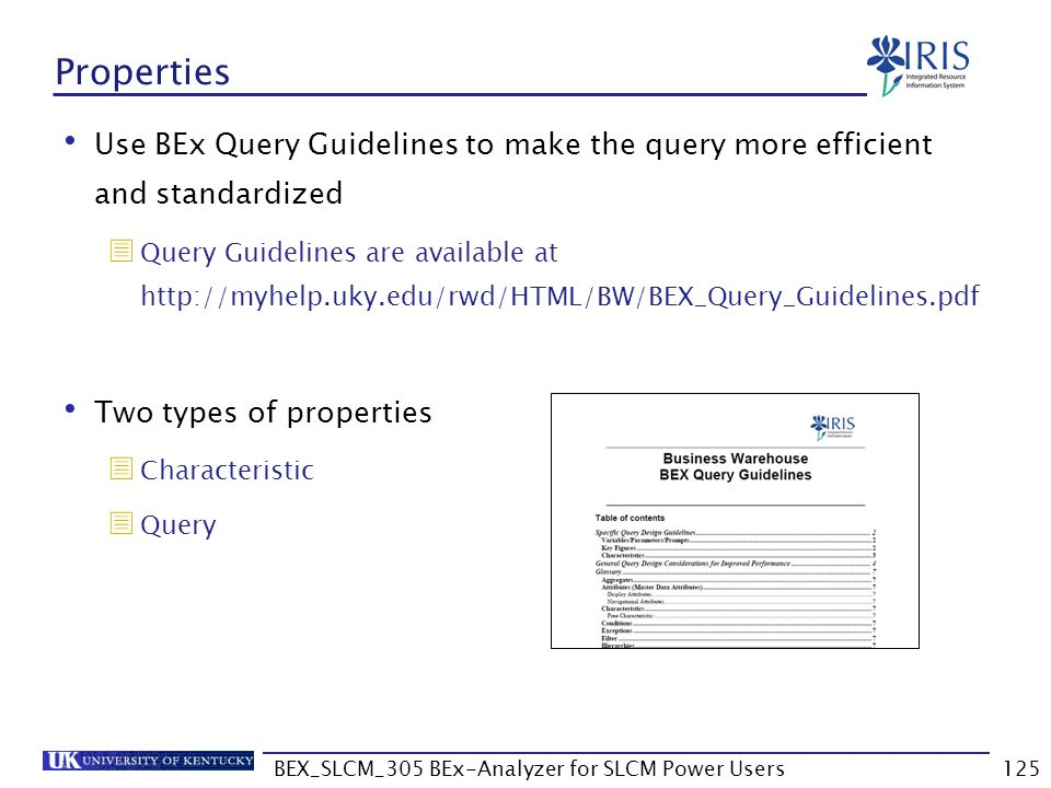 BEX_SLCM_305 BEx-Analyzer for SLCM Power Users125 Properties Use BEx Query Guidelines to make the query more efficient and standardized  Query Guidel