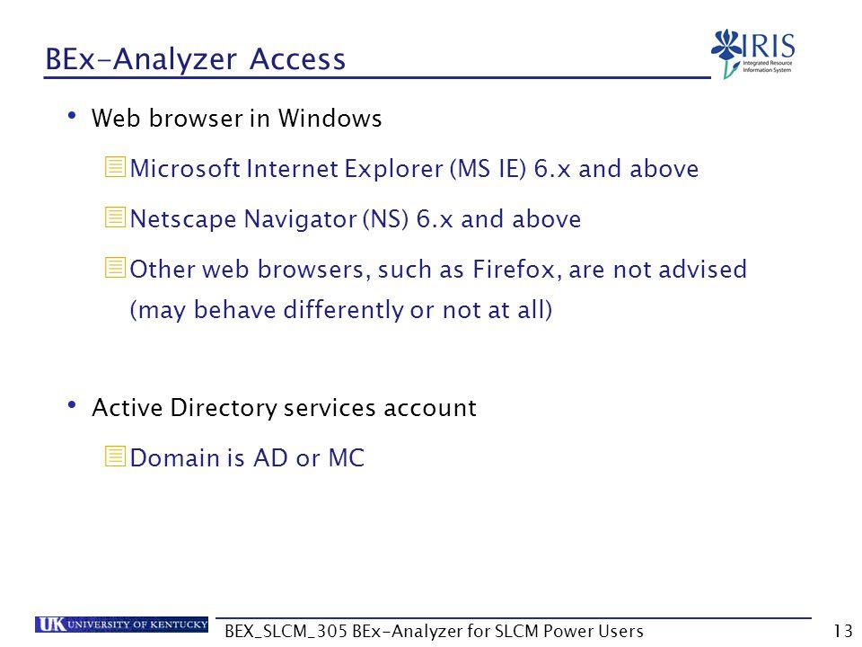 BEX_SLCM_305 BEx-Analyzer for SLCM Power Users13 BEx-Analyzer Access Web browser in Windows  Microsoft Internet Explorer (MS IE) 6.x and above  Nets