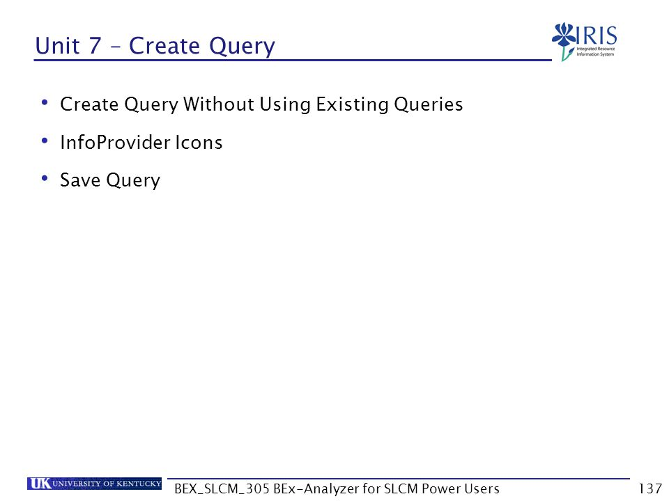 BEX_SLCM_305 BEx-Analyzer for SLCM Power Users137 Unit 7 – Create Query Create Query Without Using Existing Queries InfoProvider Icons Save Query