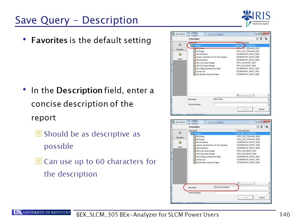 BEX_SLCM_305 BEx-Analyzer for SLCM Power Users146 Save Query - Description Favorites is the default setting In the Description field, enter a concise