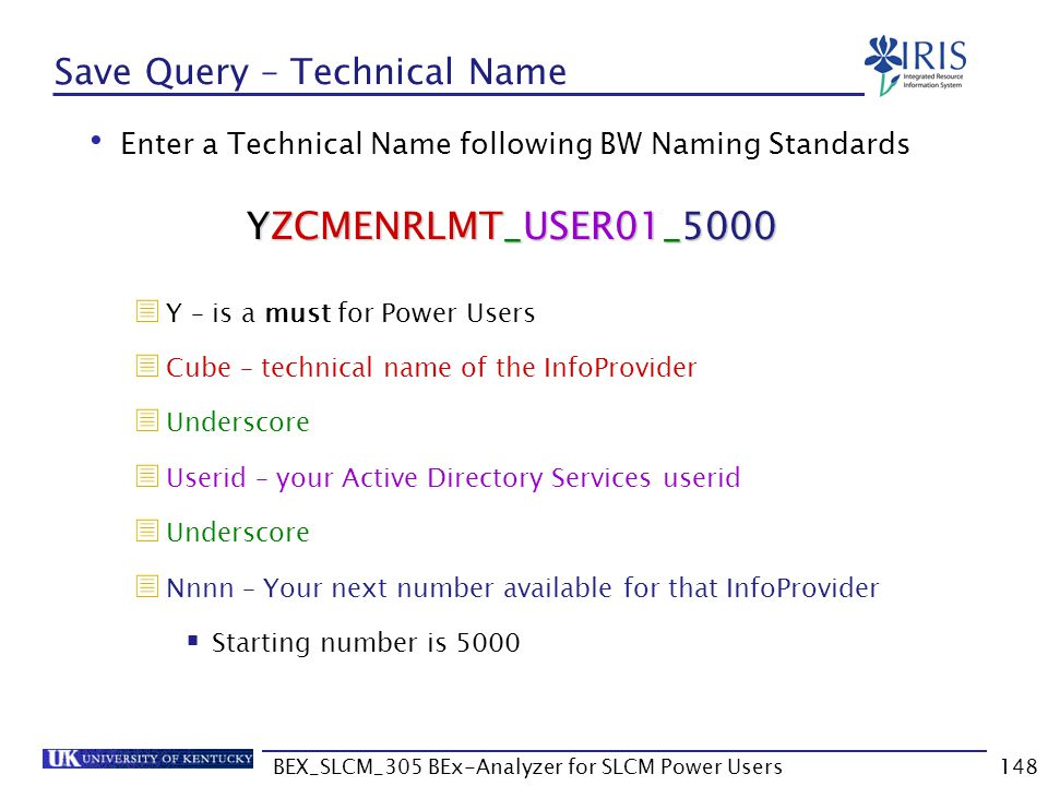BEX_SLCM_305 BEx-Analyzer for SLCM Power Users148 Save Query – Technical Name Enter a Technical Name following BW Naming Standards  Y – is a must for