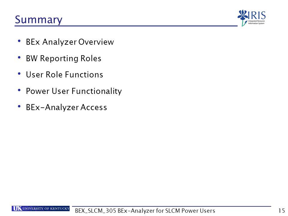 BEX_SLCM_305 BEx-Analyzer for SLCM Power Users15 Summary BEx Analyzer Overview BW Reporting Roles User Role Functions Power User Functionality BEx-Ana