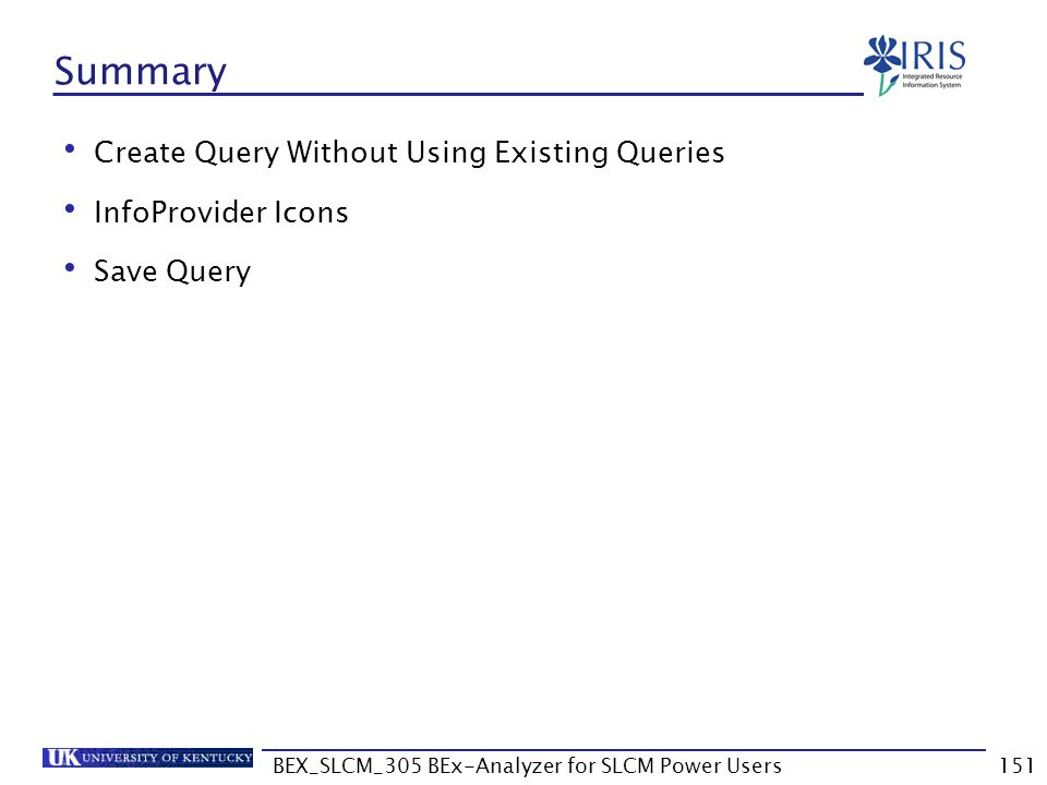 BEX_SLCM_305 BEx-Analyzer for SLCM Power Users151 Summary Create Query Without Using Existing Queries InfoProvider Icons Save Query