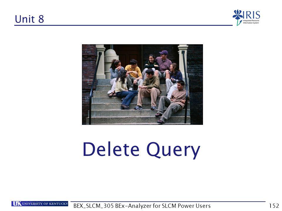 BEX_SLCM_305 BEx-Analyzer for SLCM Power Users152 Unit 8 Delete Query