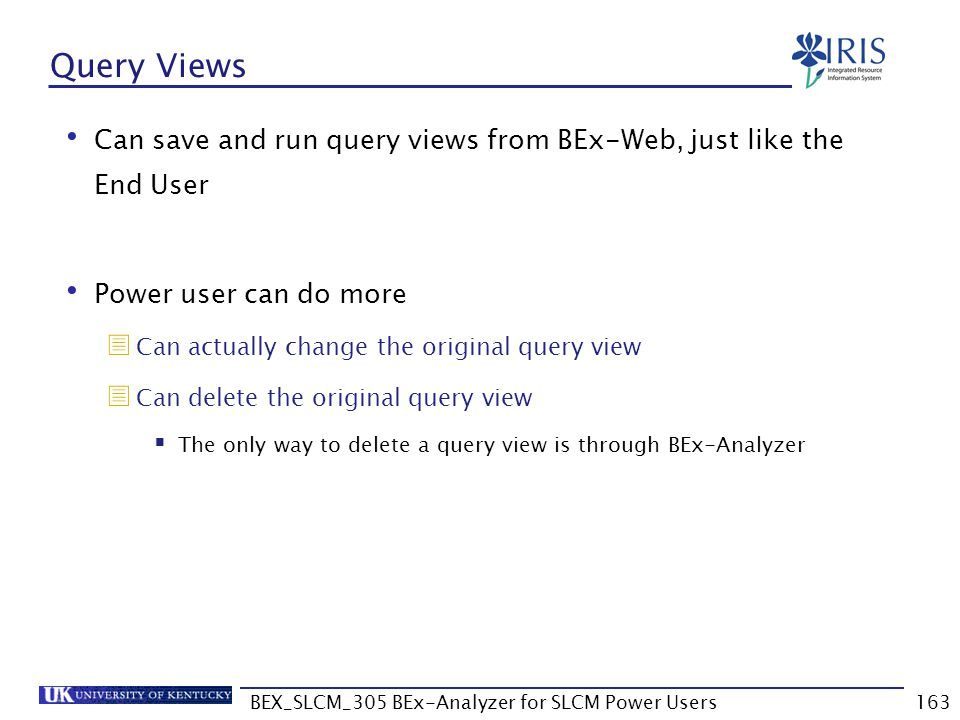 BEX_SLCM_305 BEx-Analyzer for SLCM Power Users163 Query Views Can save and run query views from BEx-Web, just like the End User Power user can do more