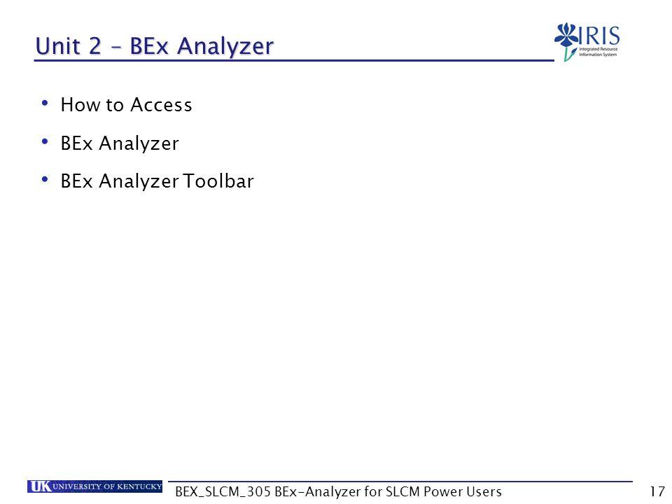 BEX_SLCM_305 BEx-Analyzer for SLCM Power Users17 Unit 2 – BEx Analyzer How to Access BEx Analyzer BEx Analyzer Toolbar