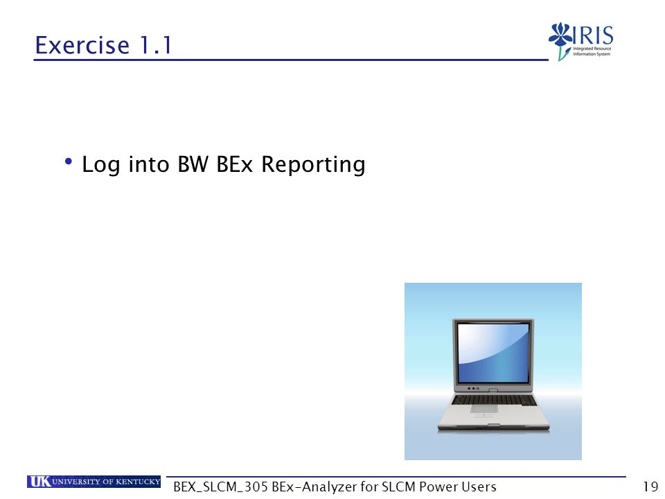 BEX_SLCM_305 BEx-Analyzer for SLCM Power Users19 Exercise 1.1 Log into BW BEx Reporting