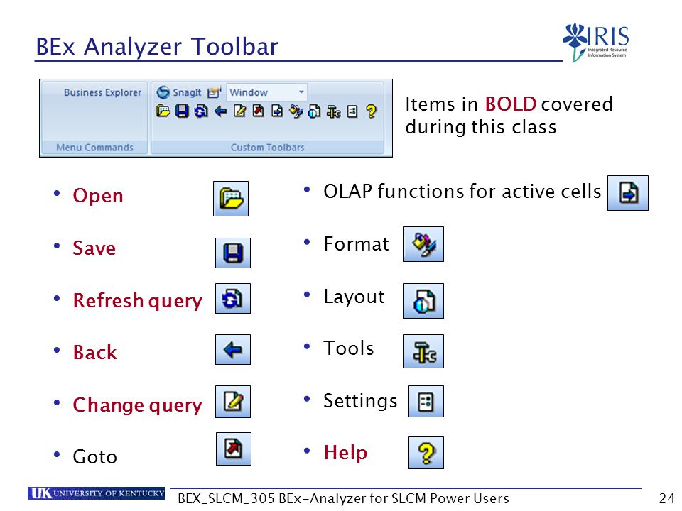 BEX_SLCM_305 BEx-Analyzer for SLCM Power Users24 BEx Analyzer Toolbar Open Save Refresh query Back Change query Goto OLAP functions for active cells F