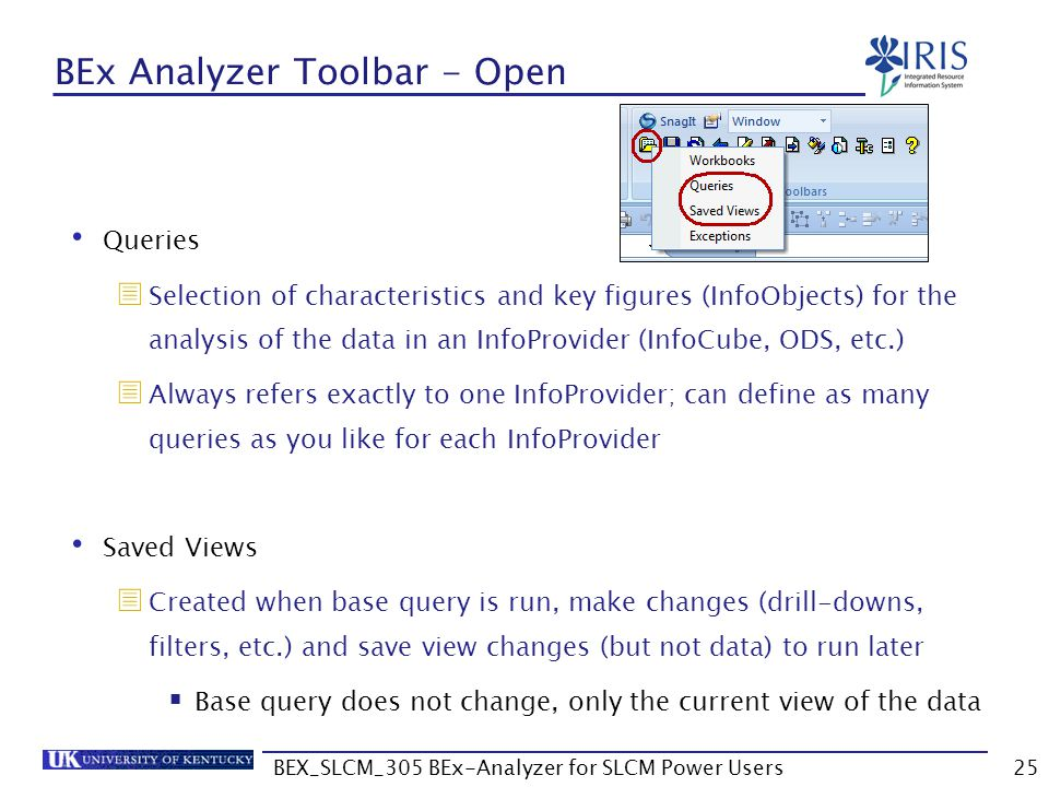 BEX_SLCM_305 BEx-Analyzer for SLCM Power Users25 BEx Analyzer Toolbar - Open Queries  Selection of characteristics and key figures (InfoObjects) for