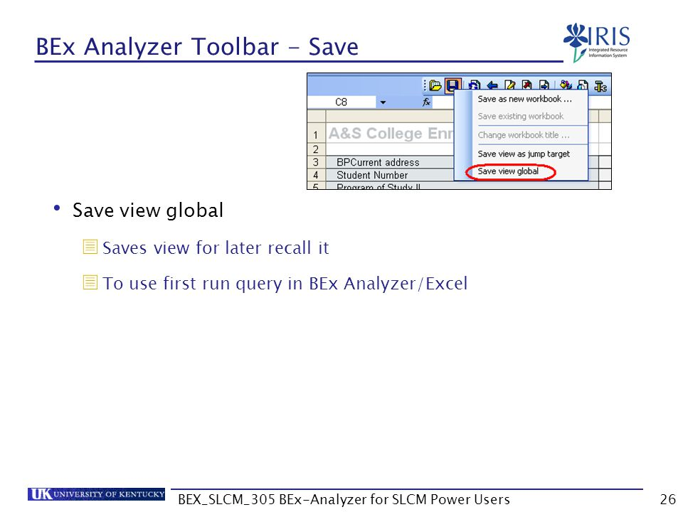 BEX_SLCM_305 BEx-Analyzer for SLCM Power Users26 BEx Analyzer Toolbar - Save Save view global  Saves view for later recall it  To use first run quer