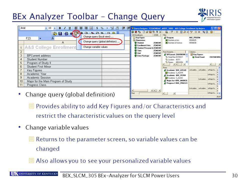 BEX_SLCM_305 BEx-Analyzer for SLCM Power Users30 BEx Analyzer Toolbar – Change Query Change query (global definition)  Provides ability to add Key Fi