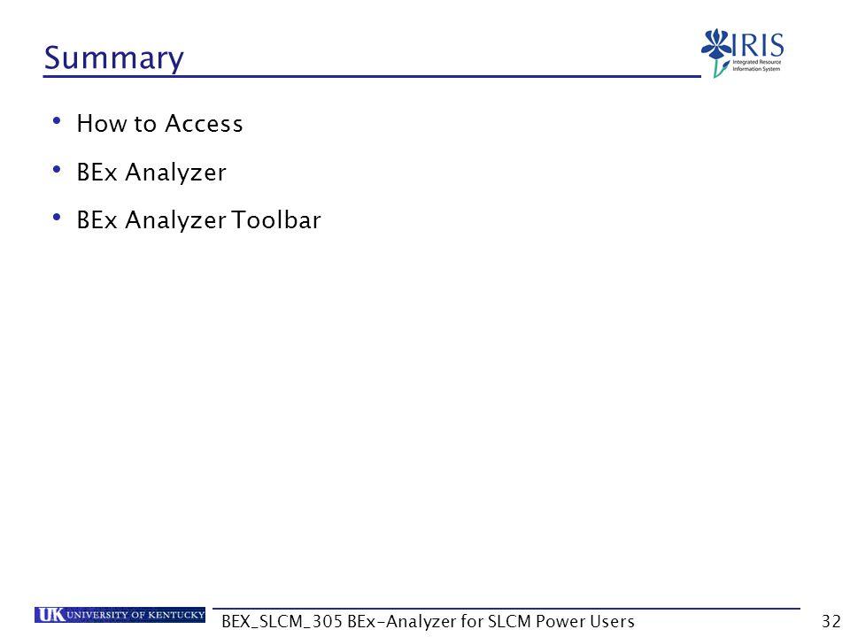 BEX_SLCM_305 BEx-Analyzer for SLCM Power Users32 Summary How to Access BEx Analyzer BEx Analyzer Toolbar