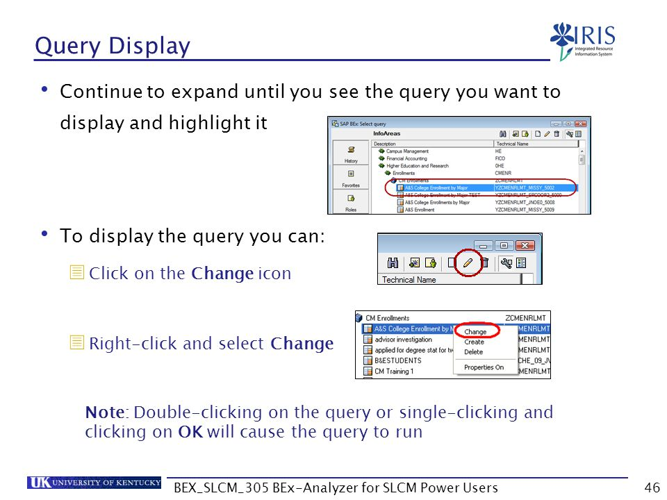BEX_SLCM_305 BEx-Analyzer for SLCM Power Users46 Query Display Continue to expand until you see the query you want to display and highlight it To disp