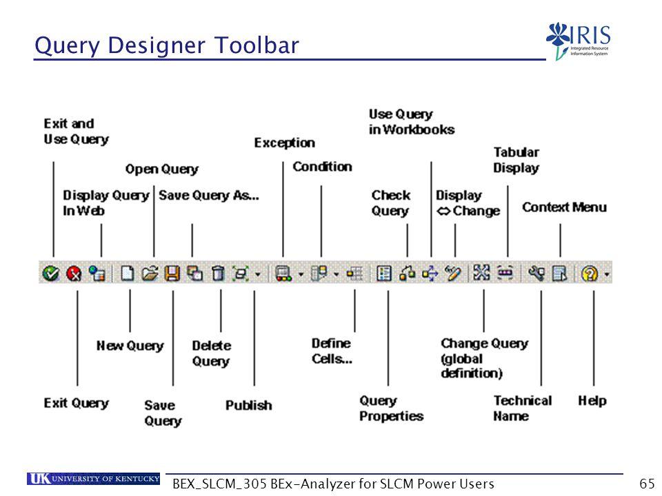 BEX_SLCM_305 BEx-Analyzer for SLCM Power Users65 Query Designer Toolbar