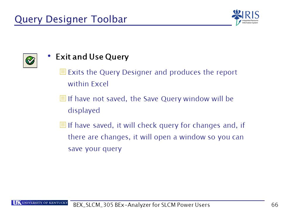BEX_SLCM_305 BEx-Analyzer for SLCM Power Users66 Query Designer Toolbar Exit and Use Query  Exits the Query Designer and produces the report within E