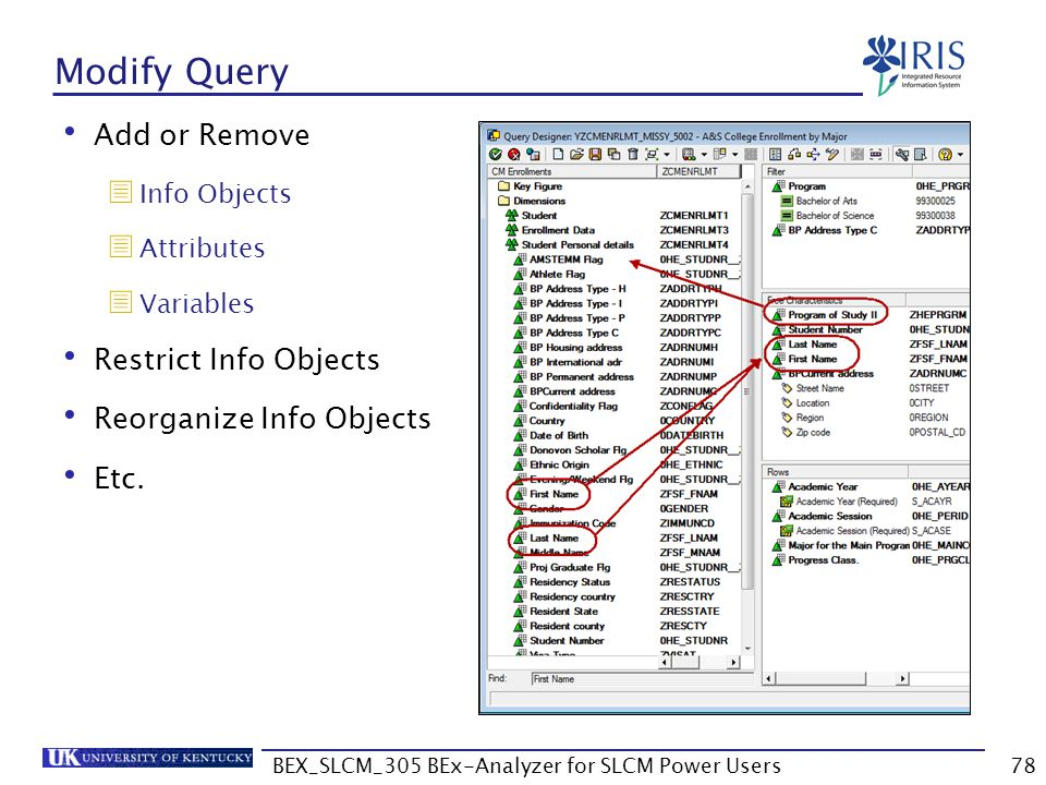 BEX_SLCM_305 BEx-Analyzer for SLCM Power Users78 Modify Query Add or Remove  Info Objects  Attributes  Variables Restrict Info Objects Reorganize I