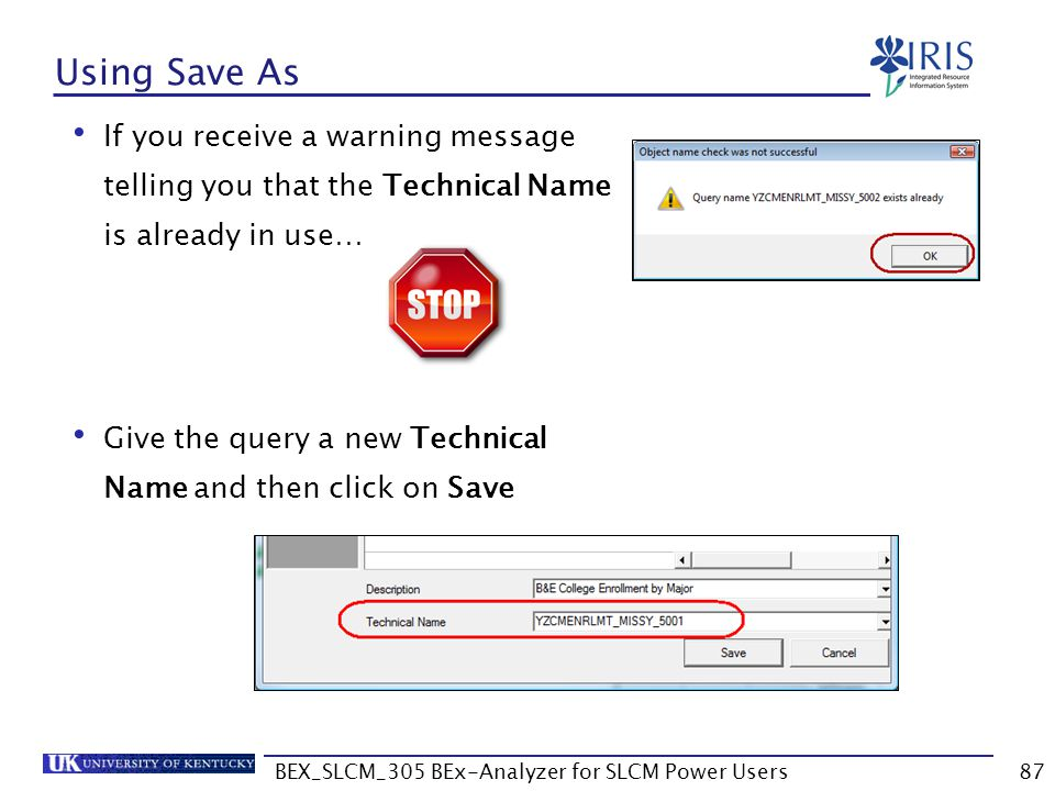 BEX_SLCM_305 BEx-Analyzer for SLCM Power Users87 Using Save As If you receive a warning message telling you that the Technical Name is already in use…
