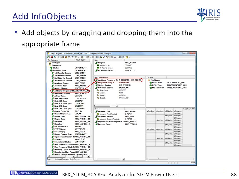 BEX_SLCM_305 BEx-Analyzer for SLCM Power Users88 Add InfoObjects Add objects by dragging and dropping them into the appropriate frame