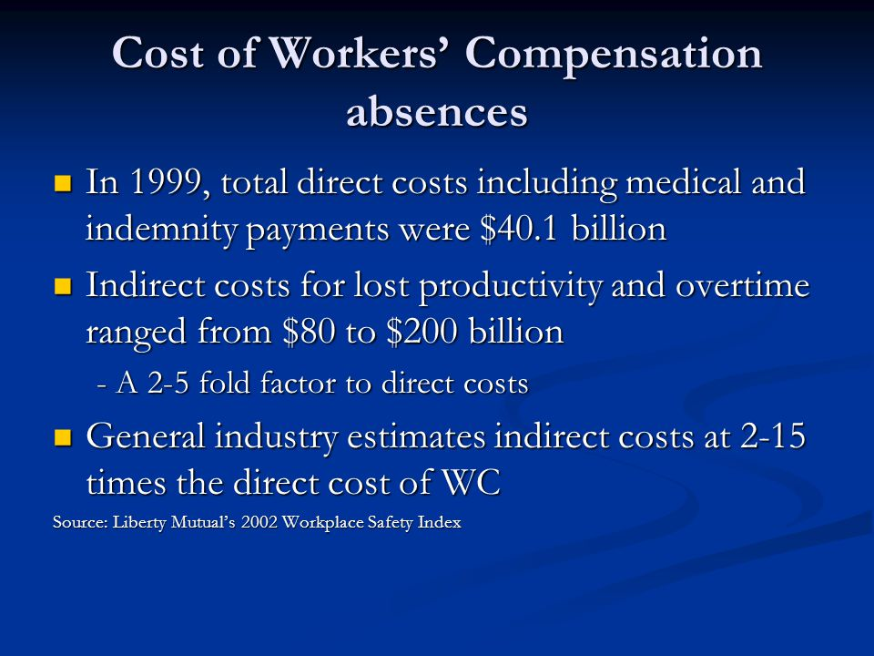 Cost of Workers' Compensation absences In 1999, total direct costs including medical and indemnity payments were $40.1 billion In 1999, total direct costs including medical and indemnity payments were $40.1 billion Indirect costs for lost productivity and overtime ranged from $80 to $200 billion Indirect costs for lost productivity and overtime ranged from $80 to $200 billion - A 2-5 fold factor to direct costs General industry estimates indirect costs at 2-15 times the direct cost of WC General industry estimates indirect costs at 2-15 times the direct cost of WC Source: Liberty Mutual's 2002 Workplace Safety Index