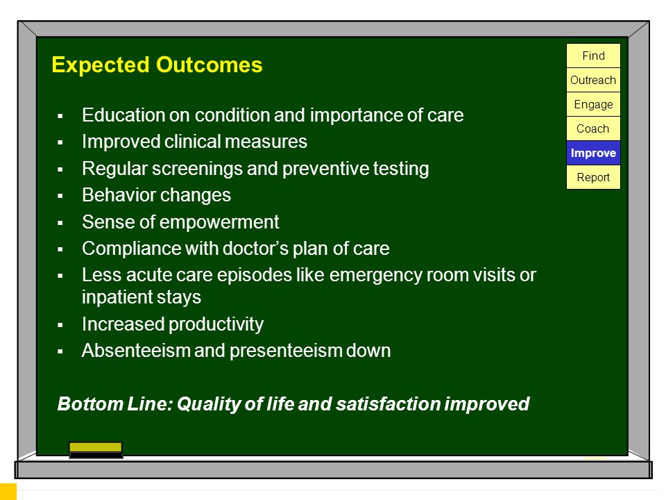Expected Outcomes  Education on condition and importance of care  Improved clinical measures  Regular screenings and preventive testing  Behavior changes  Sense of empowerment  Compliance with doctor's plan of care  Less acute care episodes like emergency room visits or inpatient stays  Increased productivity  Absenteeism and presenteeism down Bottom Line: Quality of life and satisfaction improved Find Outreach Engage Coach Improve Report