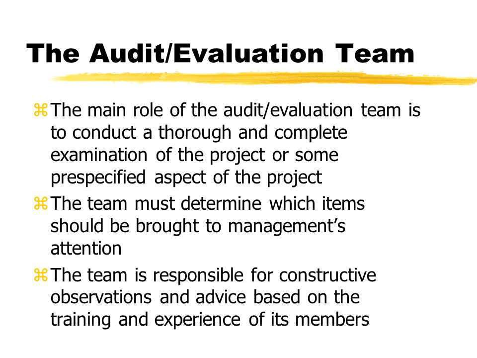 The Audit/Evaluation Team zThe main role of the audit/evaluation team is to conduct a thorough and complete examination of the project or some prespec