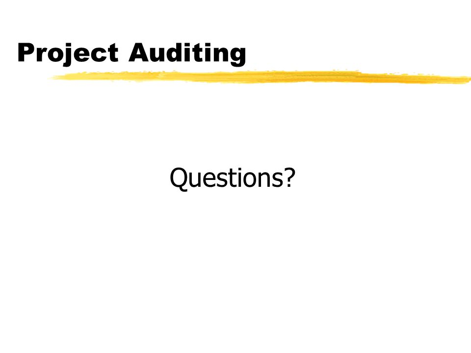 Project Auditing Questions