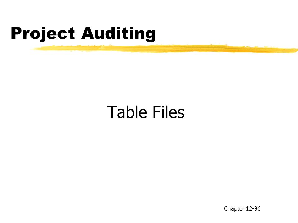 Project Auditing Table Files Chapter 12-36