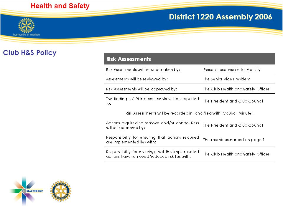 District 1220 Assembly 2006 Health and Safety The Club's Statement of General Policy is: To provide adequate control of the health and safety risks ar