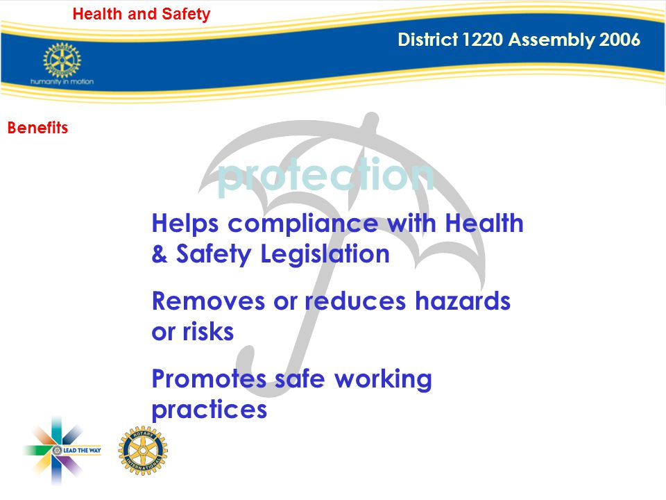 District 1220 Assembly 2006 Health and Safety protection Protects against: Injuries from our activities, Insurance claims, Bad publicity for Club, Dis