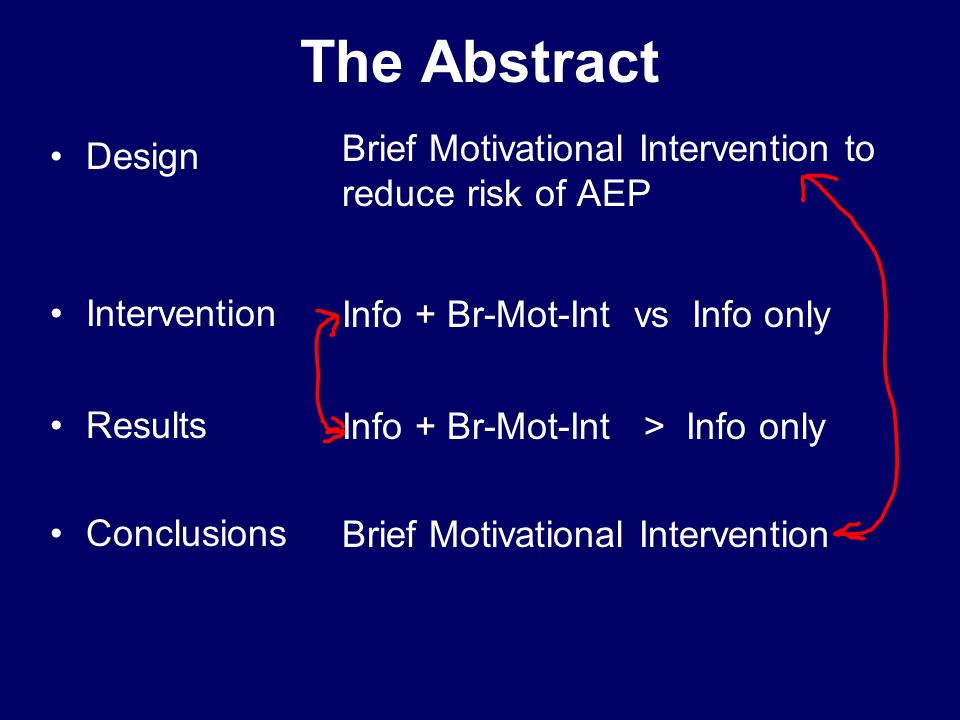 The Abstract Design Intervention Results Conclusions Brief Motivational Intervention to reduce risk of AEP Info + Br-Mot-Int vs Info only Info + Br-Mot-Int > Info only Brief Motivational Intervention