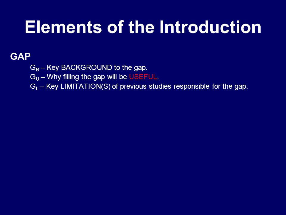 Elements of the Introduction GAP G B – Key BACKGROUND to the gap.