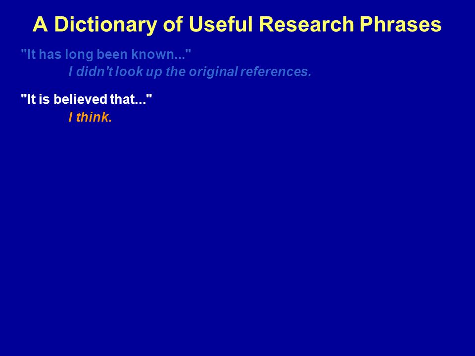 A Dictionary of Useful Research Phrases It has long been known... I didn t look up the original references.