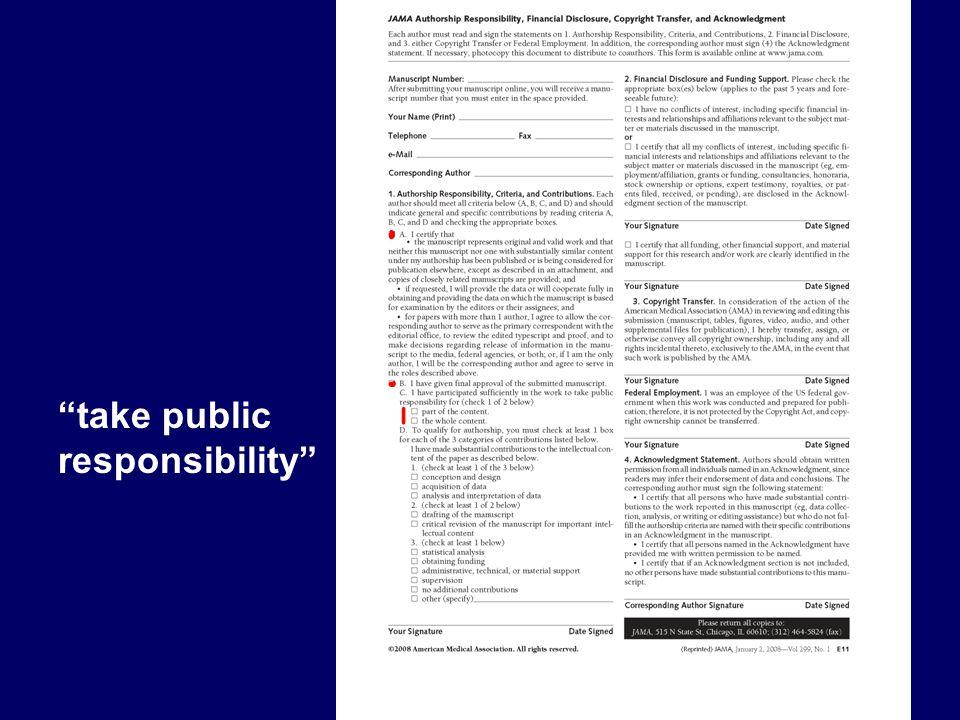 """take public responsibility"""