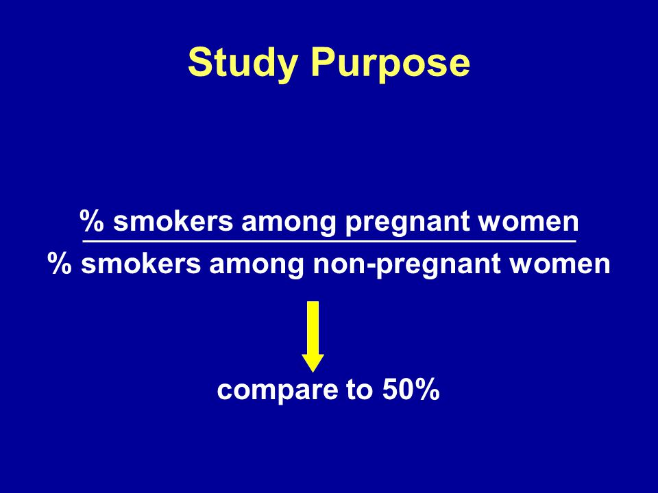 Study Purpose % smokers among pregnant women % smokers among non-pregnant women compare to 50%