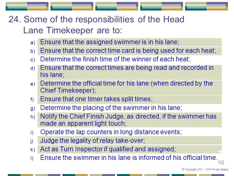 © Copyright 2001 - 2004 Swim Ontario 102 a) Ensure that the assigned swimmer is in his lane; b) Ensure that the correct time card is being used for ea