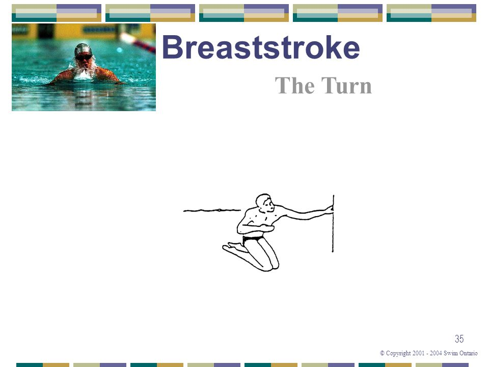 © Copyright 2001 - 2004 Swim Ontario 35 The Turn Breaststroke