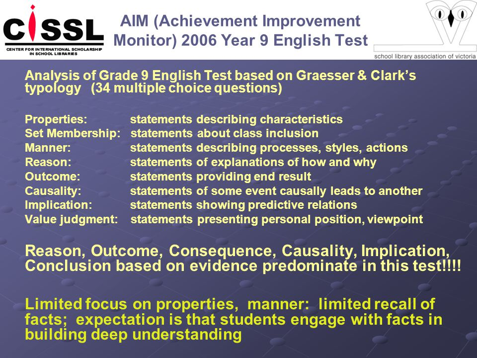 AIM (Achievement Improvement Monitor) 2006 Year 9 English Test Analysis of Grade 9 English Test based on Graesser & Clark's typology (34 multiple choice questions) Properties: statements describing characteristics Set Membership: statements about class inclusion Manner: statements describing processes, styles, actions Reason: statements of explanations of how and why Outcome: statements providing end result Causality: statements of some event causally leads to another Implication: statements showing predictive relations Value judgment: statements presenting personal position, viewpoint Reason, Outcome, Consequence, Causality, Implication, Conclusion based on evidence predominate in this test!!!.