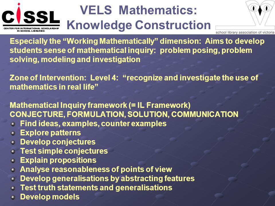 VELS Mathematics: Knowledge Construction Especially the Working Mathematically dimension: Aims to develop students sense of mathematical inquiry: problem posing, problem solving, modeling and investigation Zone of Intervention: Level 4: recognize and investigate the use of mathematics in real life Mathematical Inquiry framework (= IL Framework) CONJECTURE, FORMULATION, SOLUTION, COMMUNICATION Find ideas, examples, counter examples Explore patterns Develop conjectures Test simple conjectures Explain propositions Analyse reasonableness of points of view Develop generalisations by abstracting features Test truth statements and generalisations Develop models