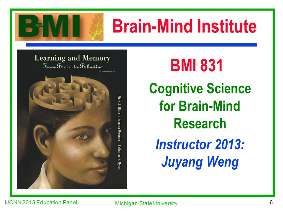 IJCNN 2013 Education Panel 6 Michigan State University BMI 831 Cognitive Science for Brain-Mind Research Instructor 2013: Juyang Weng Brain-Mind Institute