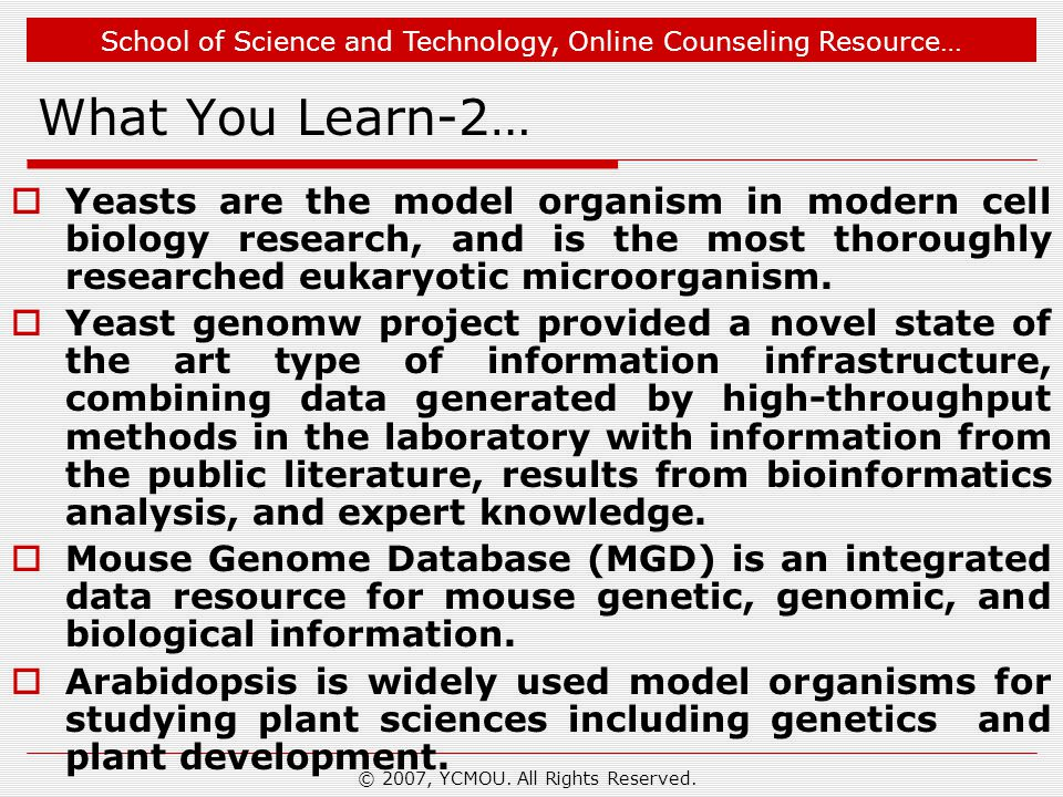 School of Science and Technology, Online Counseling Resource… What You Learn-2…  Yeasts are the model organism in modern cell biology research, and is the most thoroughly researched eukaryotic microorganism.