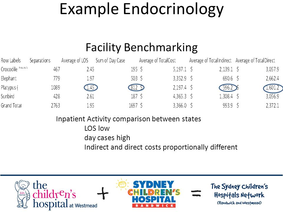 Example Endocrinology Facility Benchmarking Inpatient Activity comparison between states LOS low day cases high Indirect and direct costs proportionally different