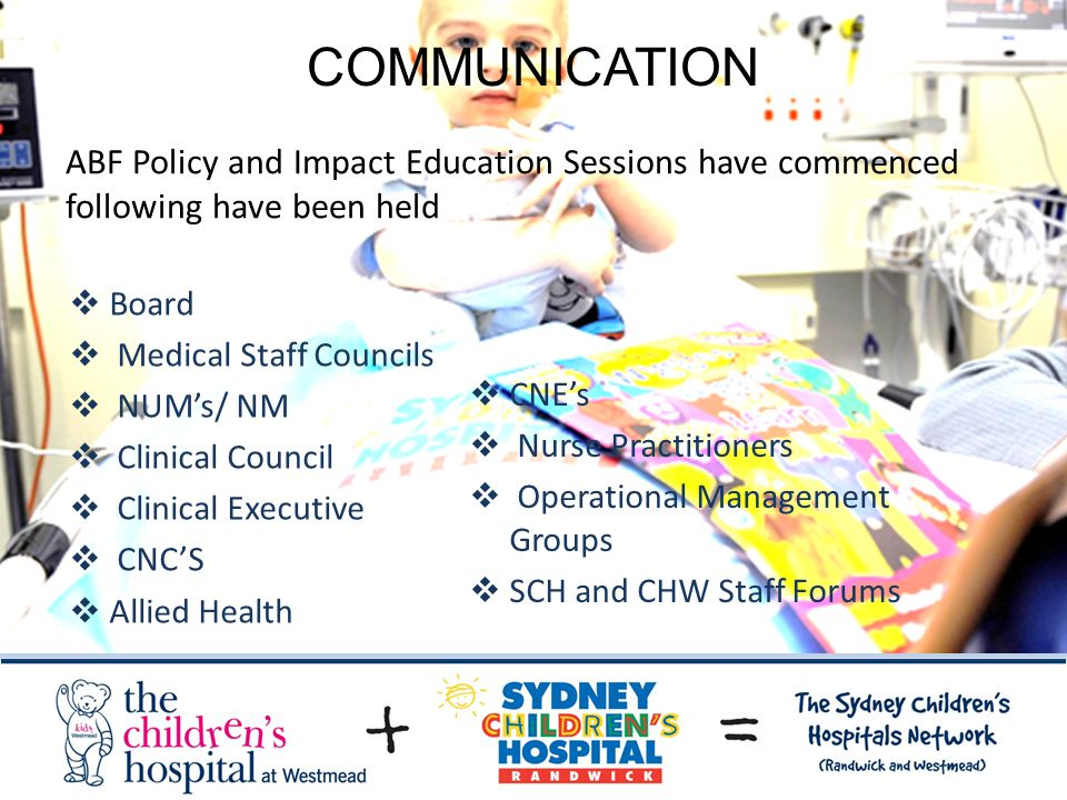 COMMUNICATION  Board  Medical Staff Councils  NUM's/ NM  Clinical Council  Clinical Executive  CNC'S  Allied Health  CNE's  Nurse Practitioners  Operational Management Groups  SCH and CHW Staff Forums ABF Policy and Impact Education Sessions have commenced following have been held