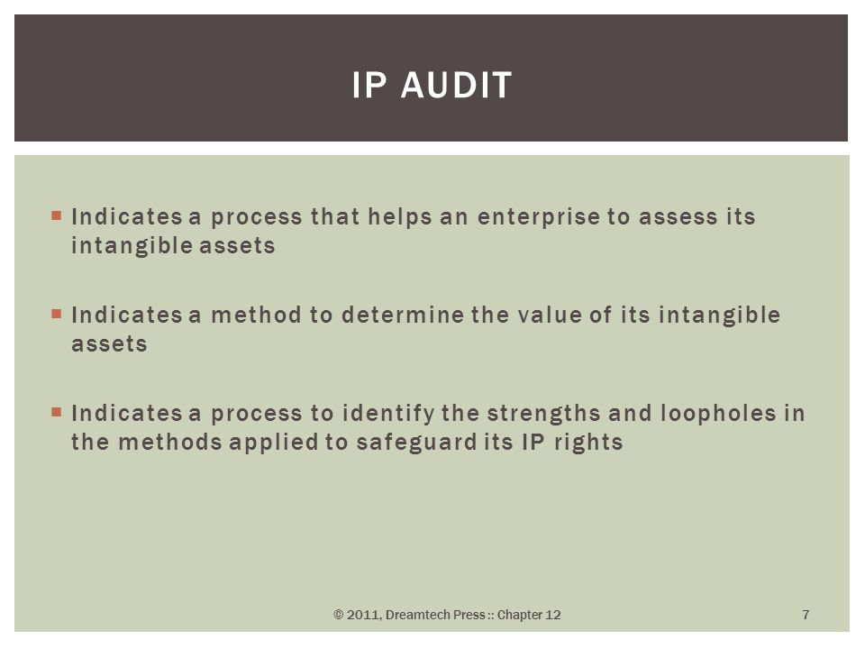  Indicates a process that helps an enterprise to assess its intangible assets  Indicates a method to determine the value of its intangible assets  Indicates a process to identify the strengths and loopholes in the methods applied to safeguard its IP rights IP AUDIT © 2011, Dreamtech Press :: Chapter 12 7