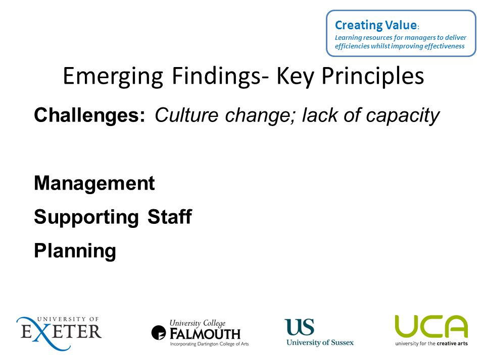 Emerging Findings- Key Principles Challenges: Culture change; lack of capacity Management Supporting Staff Planning Creating Value : Learning resources for managers to deliver efficiencies whilst improving effectiveness