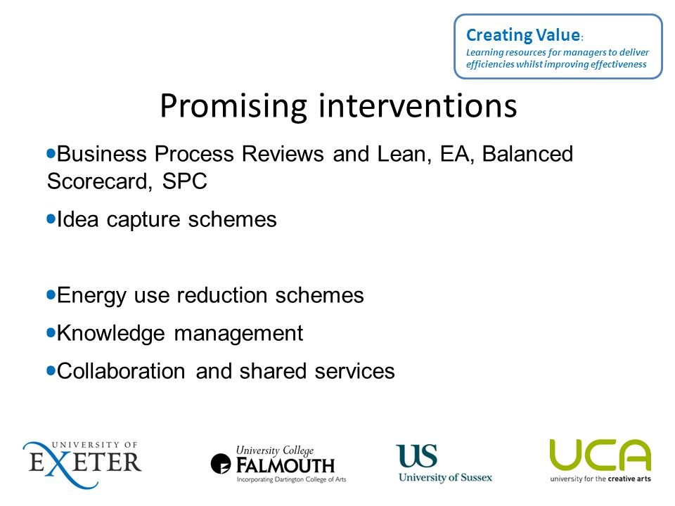 Ongoing dissemination http://www.exeter.ac.uk/spc/stratplan/hefcecreatingvalue/ http://twitter.com/morewithlessHE Creating Value : Learning resources for managers to deliver efficiencies whilst improving effectiveness