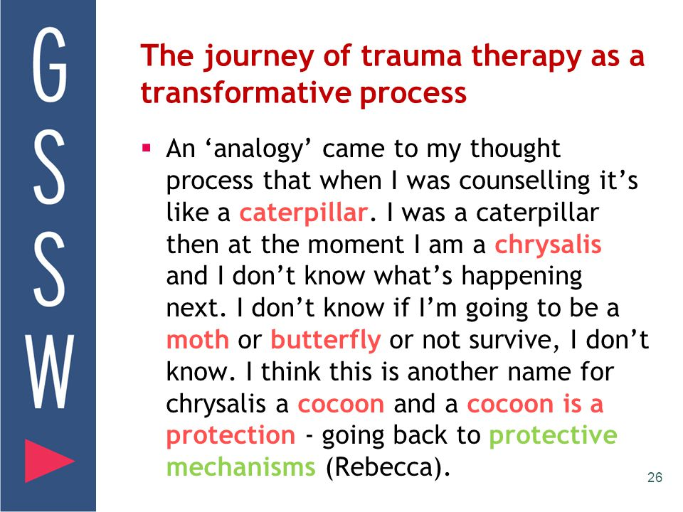 25 Vicarious Transformation  the psycho-spiritual development in trauma therapist that occurs by processing vicarious trauma(Toosheh, 2010).  Tooshe