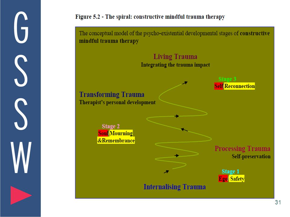 30 The Constructive Mindful Trauma Therapy Model (Toosheh, 2010, p.187) CMTT Model Internalising Trauma Stages I: Processing Trauma/self- preservation