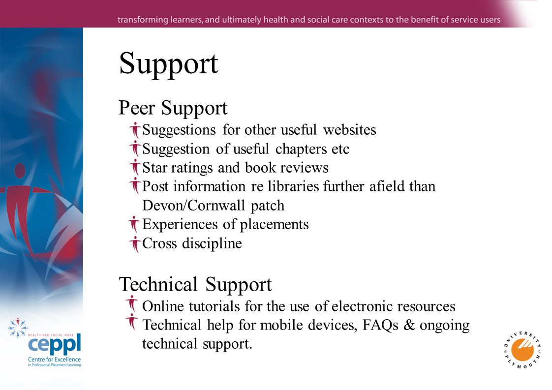 Support Peer Support Suggestions for other useful websites Suggestion of useful chapters etc Star ratings and book reviews Post information re libraries further afield than Devon/Cornwall patch Experiences of placements Cross discipline Technical Support Online tutorials for the use of electronic resources Technical help for mobile devices, FAQs & ongoing technical support.